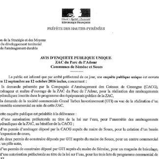 Ouverture d'une enquête publique unique - Aménagement de la ZAC du Parc de l'Adour