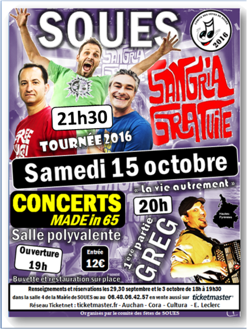 Concert Sangria gratuite et Greg le 15 octobre